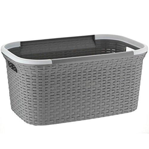 Wäschebox mit Deckel Wäschekorb Kela Rio grau 23376 Wäschetonne Flecht Look u2013 Elnheos ~ 01163202_Wäschekorb Plastik Mit Deckel
